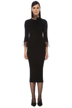 Red Valentino Kadın Siyah Tül Garnili Truvakar Kol Midi Elbise S EU(118330377)