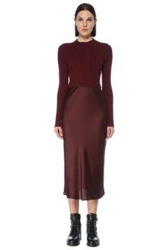 Allsaints Kadın Karla Bordo Kazak Detaylı Midi Elbise S EU(126795812)