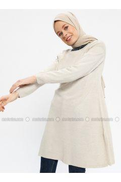 Beige - Crew neck - Acrylic -- Tunic - Seyhan Fashion(110337669)