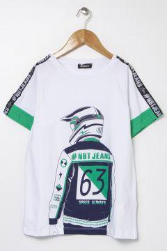 Nebbati B&G Beyaz Erkek Çocuk T-Shirt(114005892)