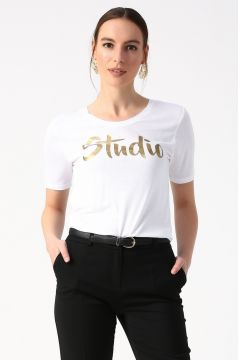 Beymen Studio Bisiklet Yaka Beyaz T-Shirt(122622317)