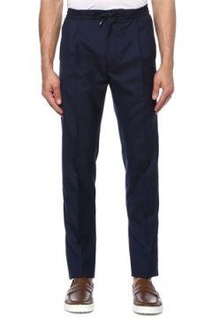 Lardini Erkek Lacivert Beli Kordonlu Yün Pantolon 54 IT(118330071)