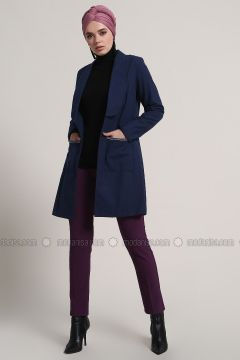 Navy Blue - Unlined - Shawl Collar - Cotton - Jacket - Refka(110313179)