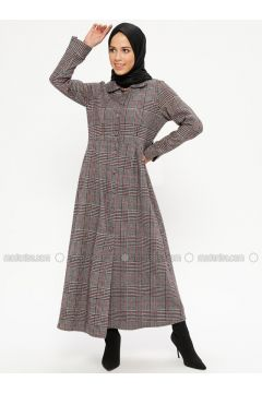 Minc - Plaid - Unlined - Round Collar - Topcoat - ZENANE(110332363)
