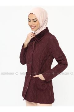 Plum - Unlined - Point Collar - Coat - ECESUN(110322446)