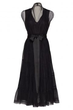 Tiered Tulle Dress Kleid Knielang Schwarz CATHRINE HAMMEL(114163756)