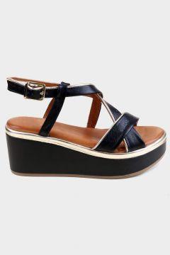 KAMMI Siyah Hakiki Deri Kadın Dolgu Topuk Sandalet(118221751)