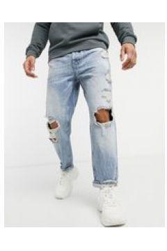 Bershka - Jeans dritti vintage con strappi blu(124790567)