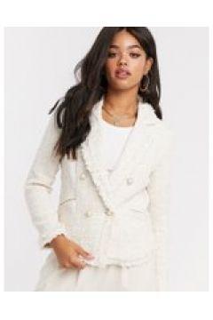 Girl In Mind - Giacca doppiopetto in tweed crema a quadri(121761188)
