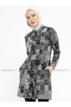 Gray - Smoke-coloured - Multi - Unlined - Crew neck - Topcoat - Dadali(110331674)