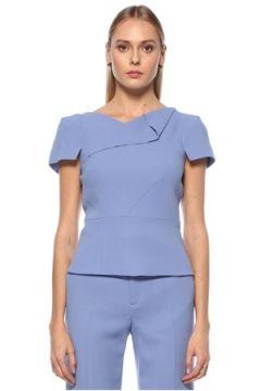 Roland Mouret Kadın Mavi Asimetrik Yaka Kısa Kol Yün Bluz 0 US(123840952)