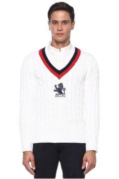 Polo Ralph Lauren Erkek Yakası Şeritli Logo Jakarlı Örgü Dokulu Kazak Beyaz S EU(121108328)