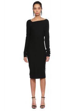 Dusan-Dusan Asimetrik Yakalı Siyah Elbise(108605626)
