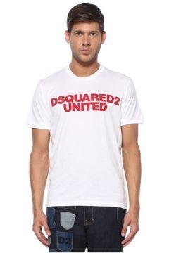 Dsquared2 Erkek Beyaz Logo Baskılı T-shirt XXXL EU(119423286)