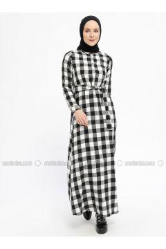 Black - Plaid - Point Collar - Unlined - Cotton - Dresses - Dadali(110331666)