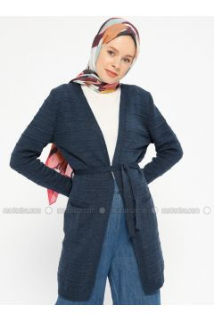 Navy Blue - Acrylic -- Cardigan - PINK APPLE(110333742)