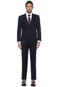 Kiton Erkek Lacivert Kelebek Yaka Çizgili Yün Takım Elbise 54 IT(126439631)