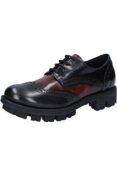 Chaussures Lea Foscati élégantes noir cuir brillant marron AD743(115394621)