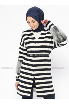 Navy Blue - Stripe - Cotton - Cardigan - Mileny(110314017)