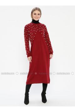 Maroon - Crew neck - Unlined - Acrylic - Dresses - Kaktüs(110327746)