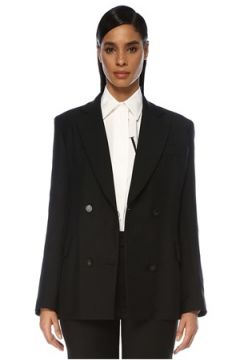 Valentino Kadın Siyah Kelebek Yaka Kruvaze Yün Ceket 40 IT(119423104)