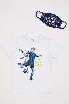 DeFacto Erkek Çocuk Football Baskılı Tişört ve Maske Set(119065417)