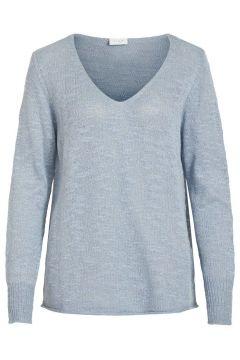 VILA V-ausschnitt Strickoberteil Damen Blau(111098135)