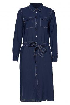 Dhellie Shirt Dress Kleid Knielang Blau DENIM HUNTER(116642672)
