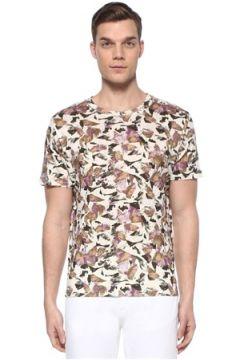 Isabel Marant Erkek Camron Ekru Mor Geometrik Desenli Keten T-shirt Bej S EU(109265325)