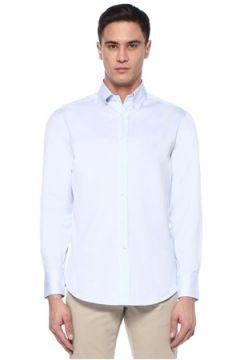 Brunello Cucinelli Erkek Basic Fit Mavi Polo Yaka Gömlek XXL EU(107433883)