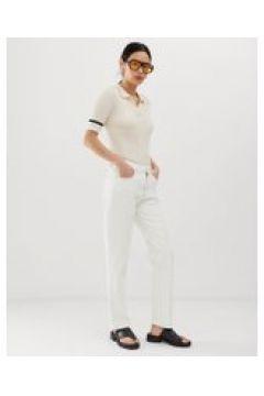 Tomorrow - Jeans dritti vita alta in cotone biologico con passante-Bianco(112835303)