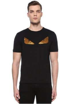 Fendi Erkek Siyah Taşlı Canavar Göz İşlemeli Basic T-shirt 48 IT(108933838)