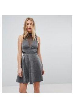 New Look - Skaterkleid in Metallic mit Netzeinsätzen - Silber(86672783)