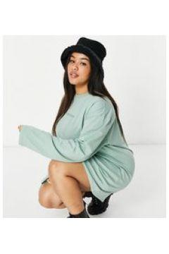 New Girl Order Curve - Vestito camicia a maniche lunghe con logo tono su tono-Verde(122784331)