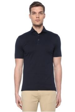 Fedeli Erkek Lacivert Polo Yaka T-shirt Gri 48 IT(116665625)