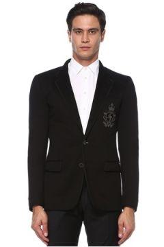 Dolce&Gabbana Erkek Siyah Kelebek Yaka Logo Patchli Ceket 54 IT(121734233)