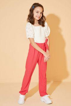 DeFacto Kız Çocuk Kemerli Örme Pantolon(119061774)