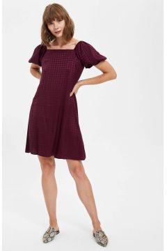 DeFacto Kadın Büzgülü Balon Kollu Midi Boy Elbise(125931286)
