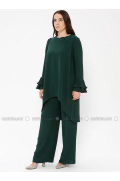 Green - Unlined - Crew neck - Muslim Plus Size Evening Dress - Sevdem Abiye(110323344)