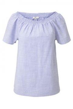 TOM TAILOR Damen Kurzarm-Bluse mit Carmen-Ausschnitt, blau, Gr.36(116767379)