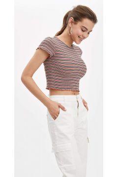 DeFacto Kadın Çizgili Kısa Kollu T-Shirt(119063355)