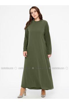 Khaki - Unlined - Polo neck - Plus Size Dress - Efraze(110329583)