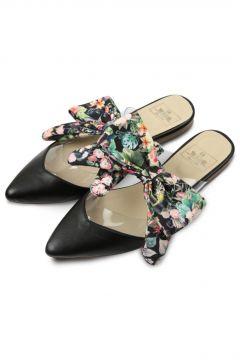 Rollbab Kadın Siyah Black Flowered Bow Terlik(124973871)