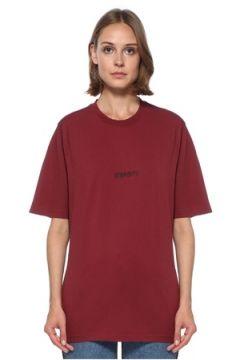 Vetements Kadın Bordo Logo Baskılı Basic T-shirt XS EU(122583462)