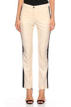 Karl Lagerfeld-Karl Lagerfeld Yandan Siyah Çizgili Krem Pantolon(118835503)