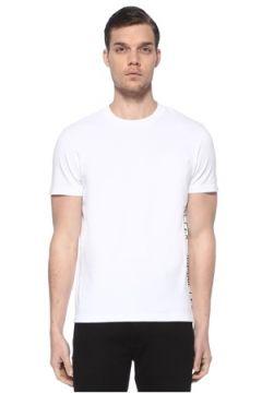 Moncler Erkek Beyaz Şerit Logo Detaylı Basic T-shirt M EU(114438947)