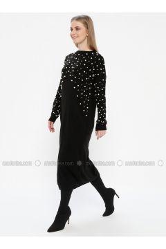 Black - Crew neck - Unlined - Acrylic - Dresses - Kaktüs(110327753)