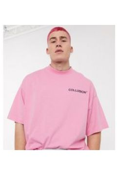 COLLUSION - T-shirt oversize rosa con logo in rilievo(112517896)
