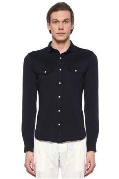 Eleventy Erkek Lacivert Polo Yaka Cepli Jersey Gömlek XXL EU(108810048)