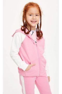 DeFacto Kız Çocuk Renk Bloklu Kapüşonlu Fermuarlı Hırka(119061420)